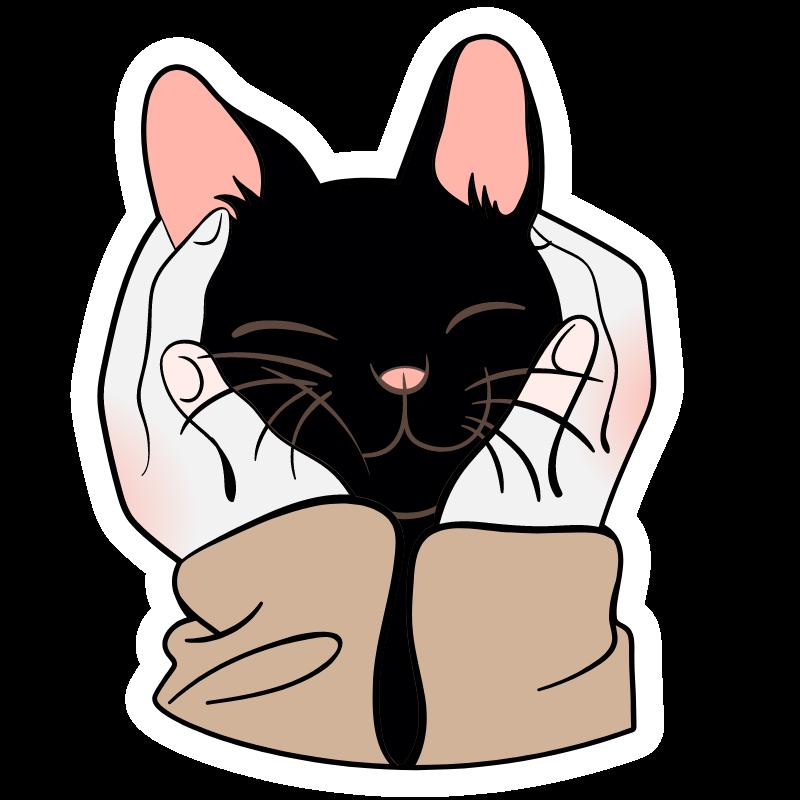 Black Kitten In Human Palms In 2020 Kitten Drawing Cute Animal Drawings Anime Cat