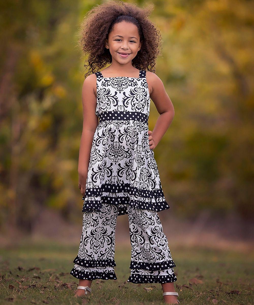 Black Dots & White Damask Dress & Pants - Infant Toddler & Girls