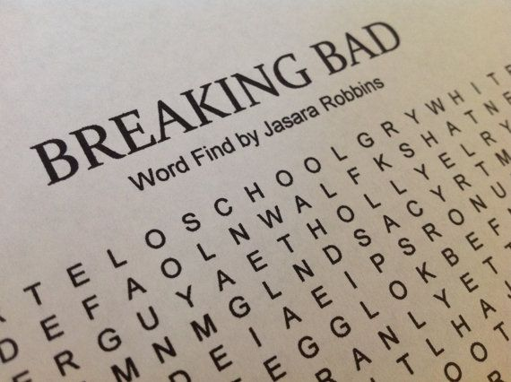 Party Favor!  Breaking Bad Inspired Word Find Puzzle by WoodlandFaerieGirl, $0.25