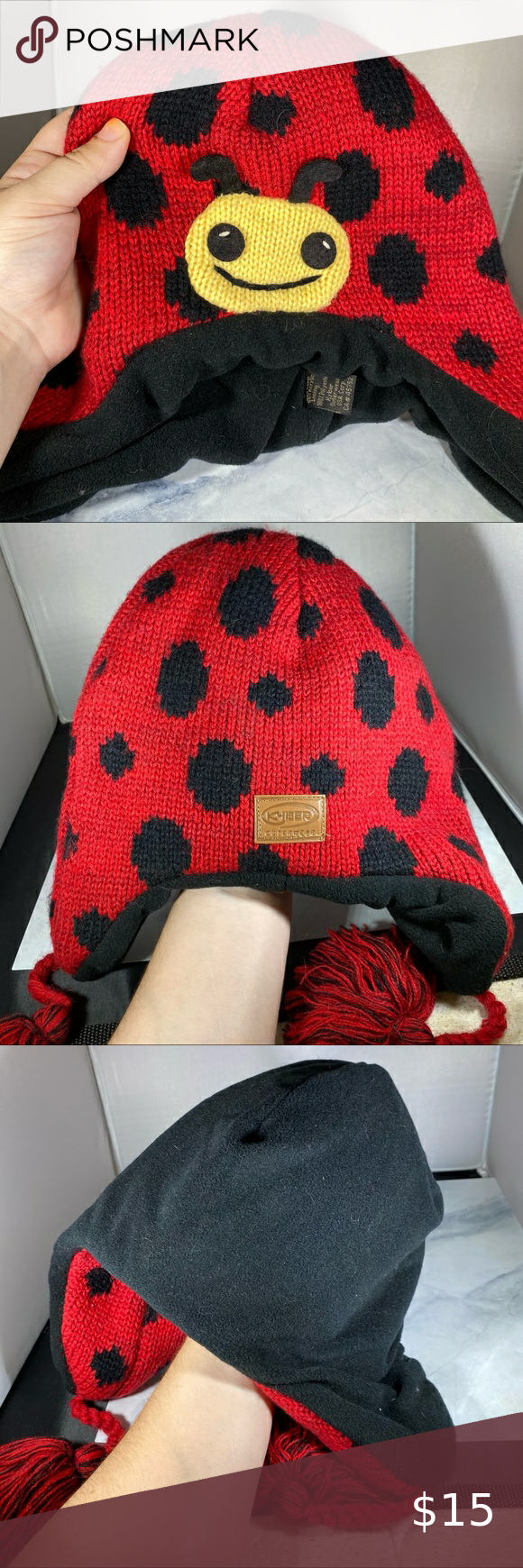 Kyber Outerwear Ladybug Hat Hats Outerwear Black And Red [ 1740 x 580 Pixel ]