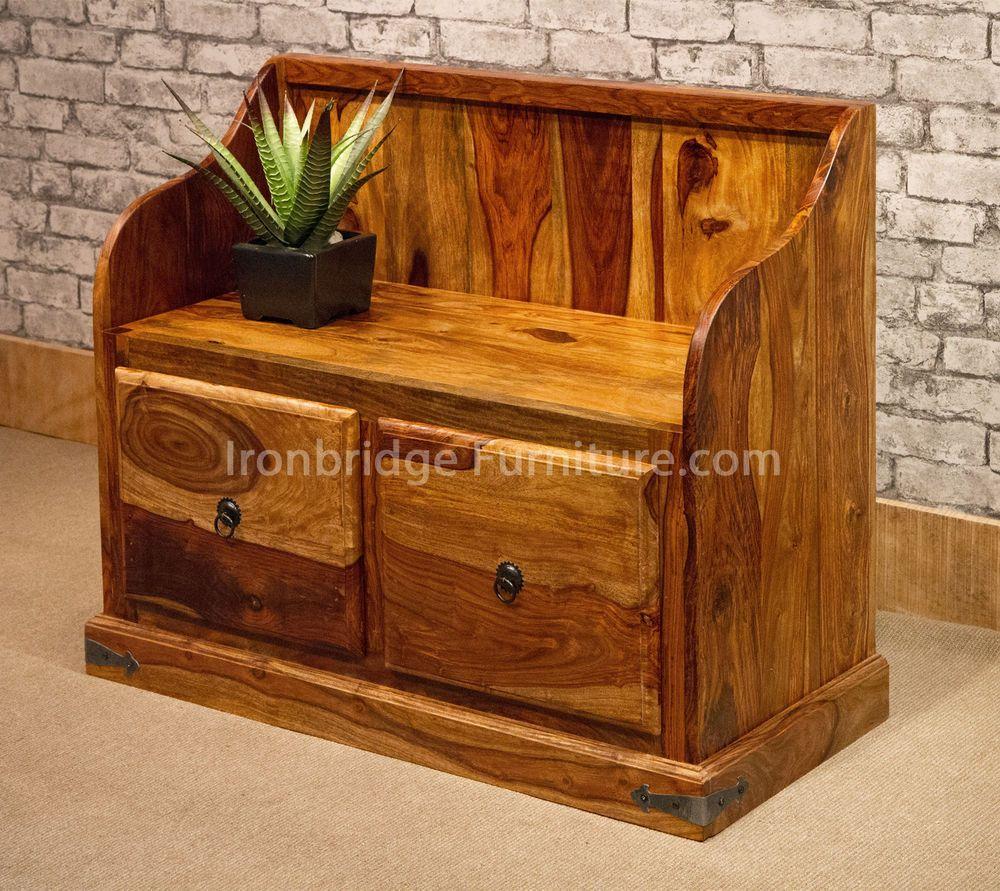 Solid Wood Indian Rosewood Sheesham Monks Bench Seat 2