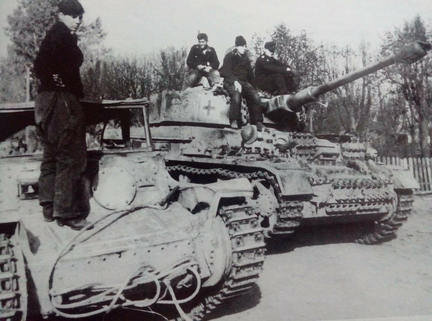 Panzer IV of the 20 Panzer Division crossing a modify Panzer