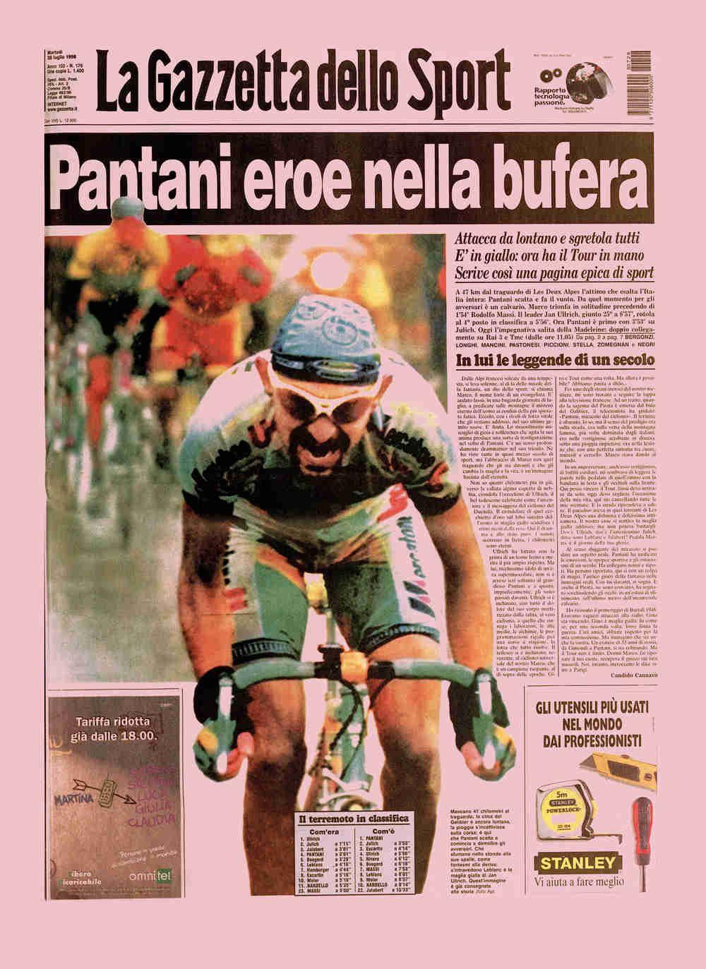 Prima pagina de La Gazzetta Dello Sport del 28 luglio 1998