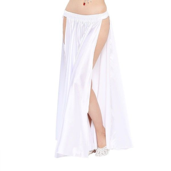 7b204db974 ($20) ❤ liked on Polyvore featuring skirts, belly dance skirts, long maxi  skirts, white maxi skirt, long white satin skirt and satin maxi skirt