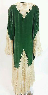 856071c9fd Vintage-1930-039-s-Ecru-Lace-amp-Green-Silk-Velvet-Robe-Antique-Robe-1930 -039-s-Robe