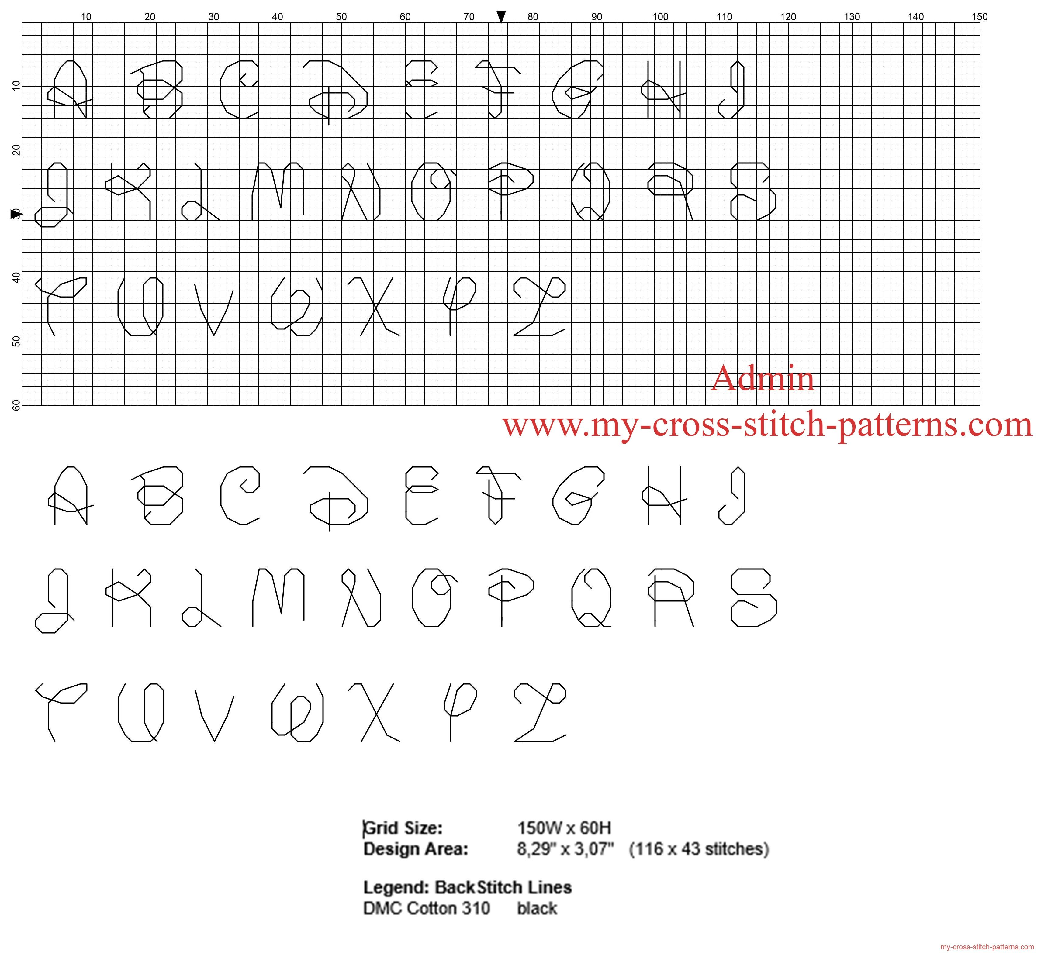 Abecedario punto de cruz font Disney cada letra medir 10 x 10 puntos ...