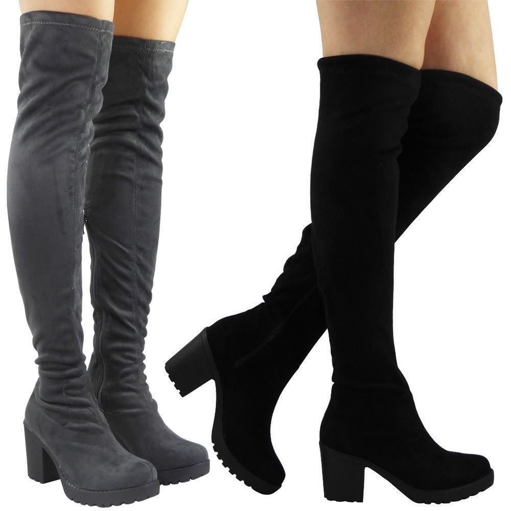 ba1a7c43d570 Women Ladies Thigh High Over The Knee Cleated Long Zip Block Heel Boots  Shoes Sz