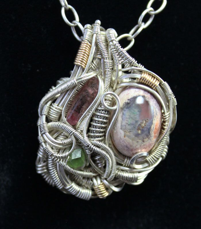Opal mini wire wrapped pendant by VersionPhi on Etsy https://www.etsy.com/listing/197202493/opal-mini-wire-wrapped-pendant