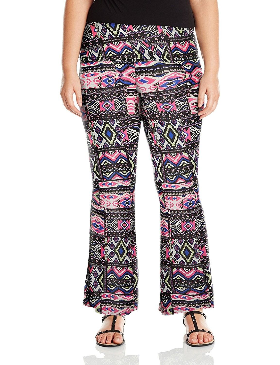 f163f3f1de1 Junior s Plus-Size Printed Flare Leg Pant With Foldover Waistband ...