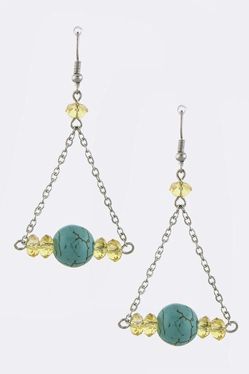 {Fish Hook Turquoise Orb Cut Earrings}