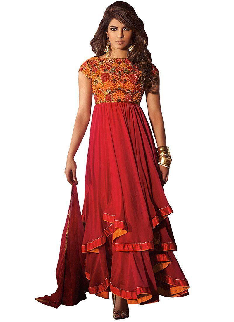 Modish #PriyankaChopra Layered #Anarkali Suit