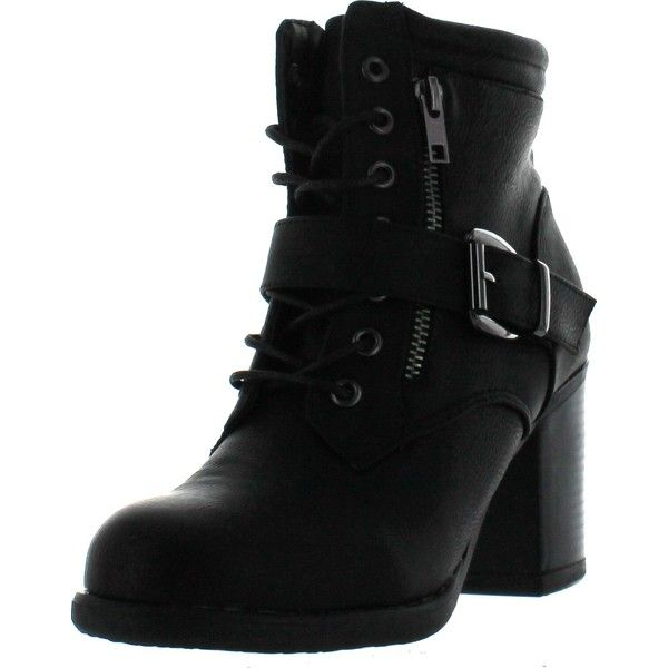 Tanya-1 Women's Lace Up Buckle Strap Chunky Heel Combat Ankle Booties