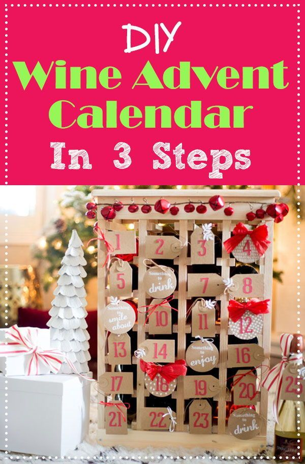 Oh, What Fun! DIY Wine Advent Calendar #wineadventcalendardiy This DIY adult advent calendar with wine is hilarious and a great idea for Christmas! I totally need to make it this year. It makes a great back drop to holiday decorations, and is an excellent gift for my wine loving friends. (Of course, it could be used for non-alcoholic drinks) #Christmas #Christmasdecor #wine #diy #adventcalendar #christmascrafts #holidays #ad #wineadventcalendardiy