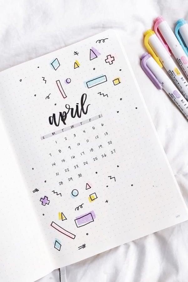 Bullet Journal Monthly Cover Ideas For April 2020 #Journal #Cover #Bullet