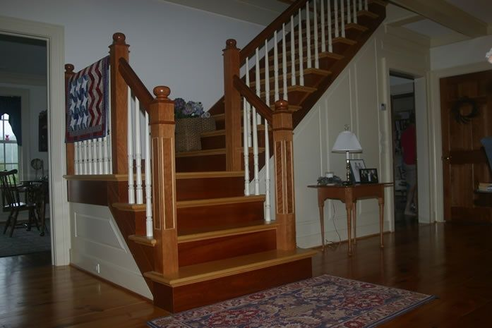 Best Oak Staircase White Riser Oak Stair Treads Cherry 640 x 480