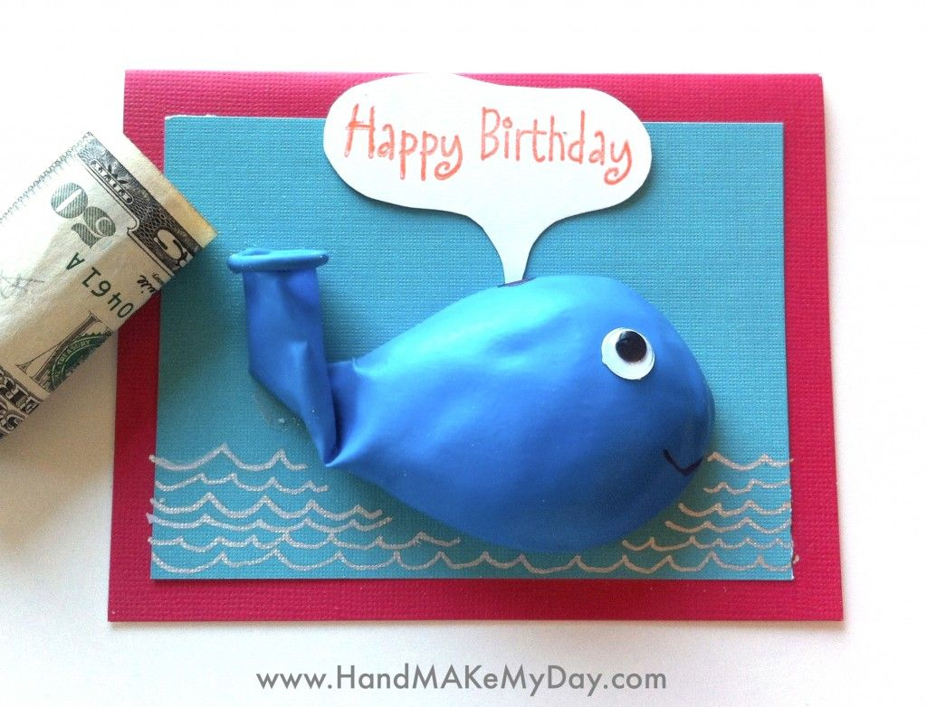 26 fun and clever money gift ideas and ways to give cash whale diy whale birthday balloon card way to cute a must make bookmarktalkfo Choice Image