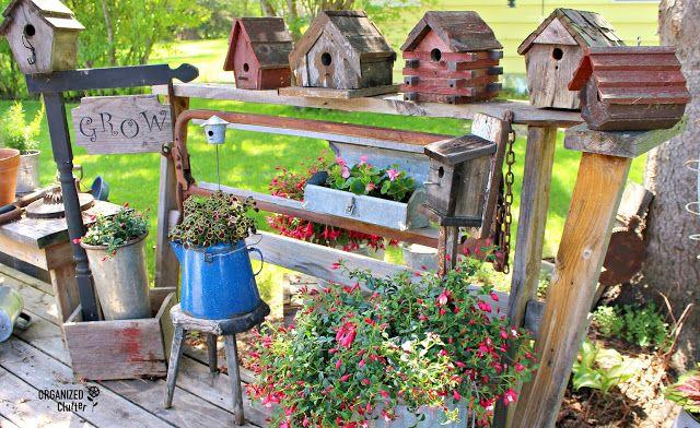 Rustic Birdhouses And Junk Garden Decorating Garden Junk 400 x 300