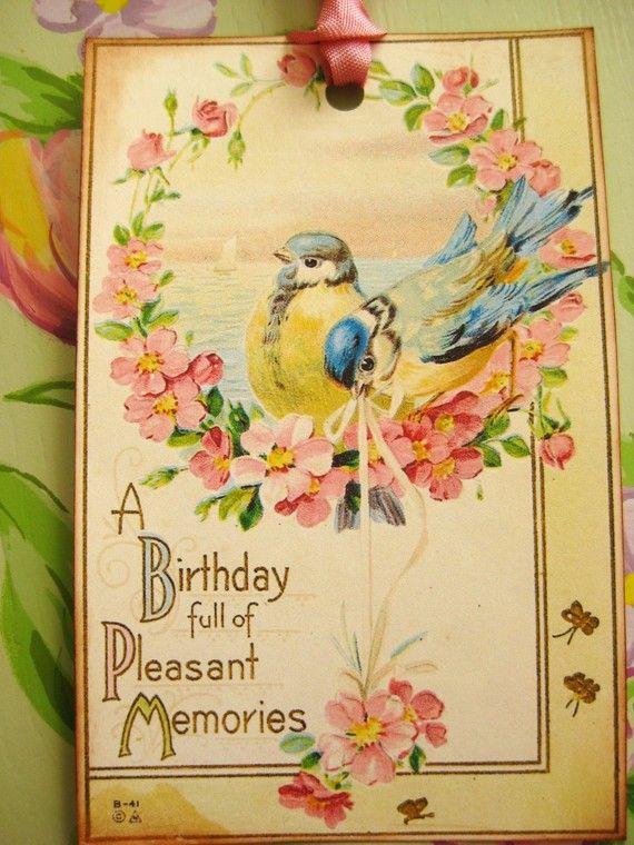 Blue bird birthday tags birthday greeting cards pinterest blue bird birthday tags by beehivecottage on etsy 375 m4hsunfo