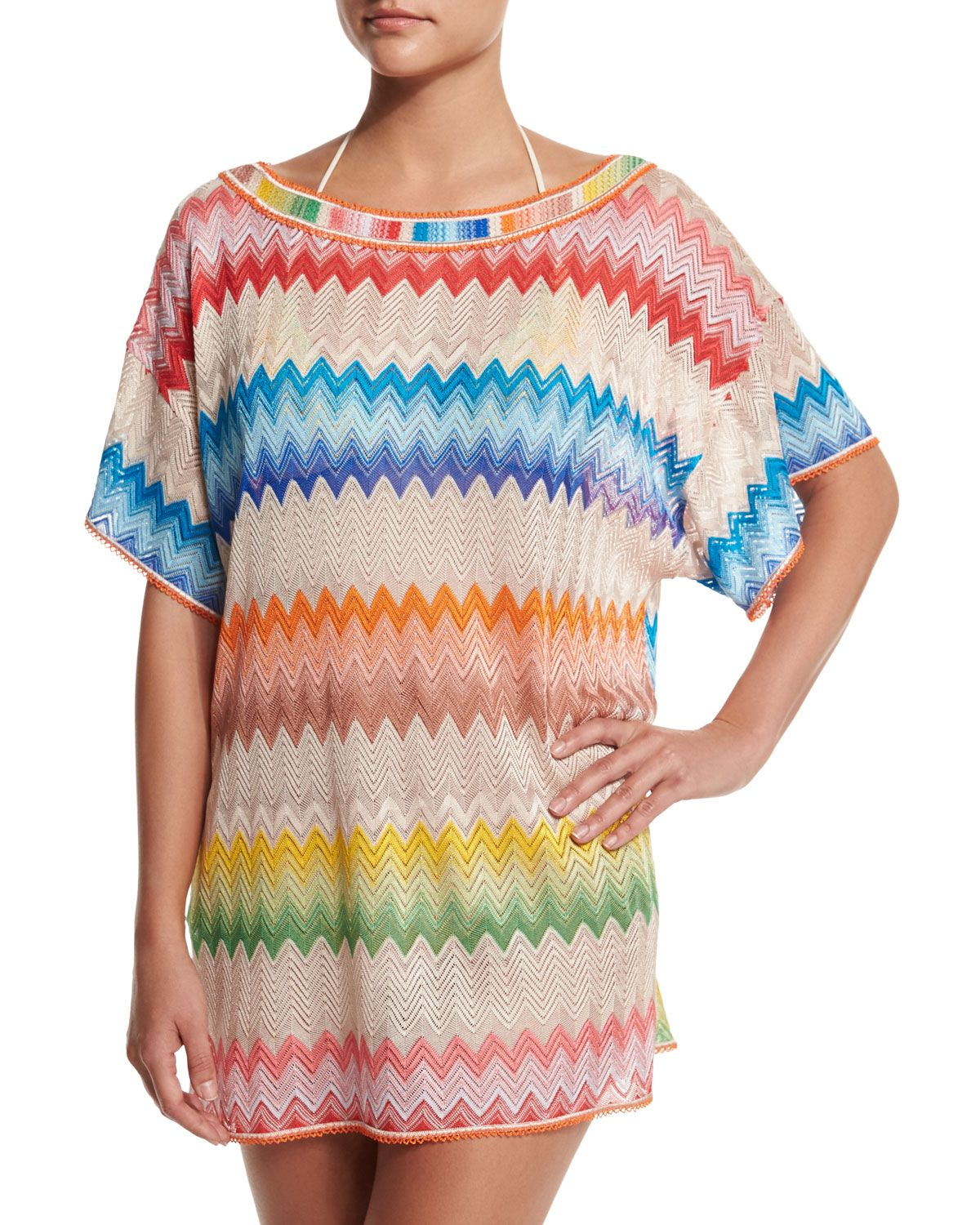 083f4a4f94bf Zigzag-Print Short-Sleeve Tunic Coverup