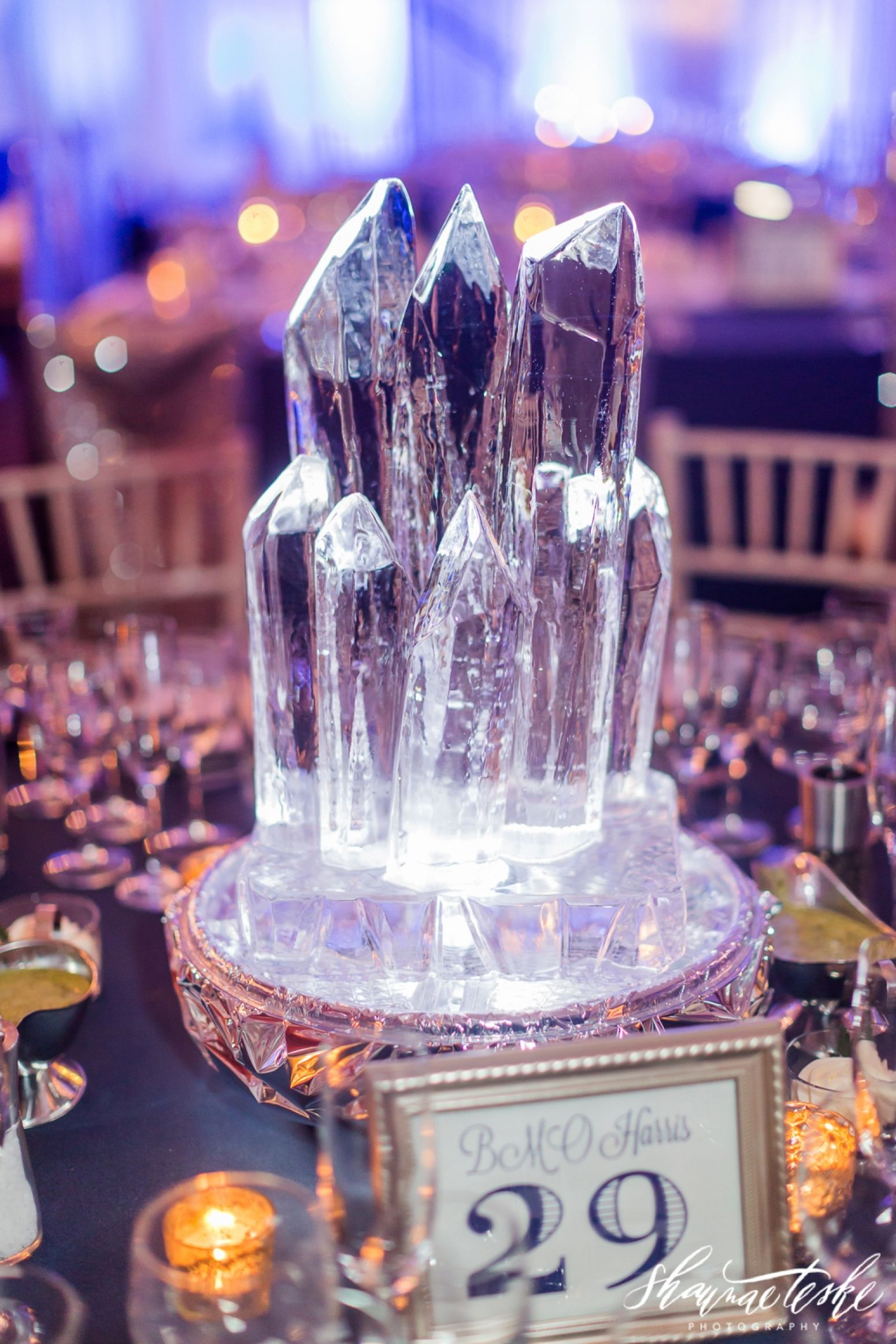 Winter Themed Reception Space At Lambeau Field Snowflakes And Chandeliers Wedding