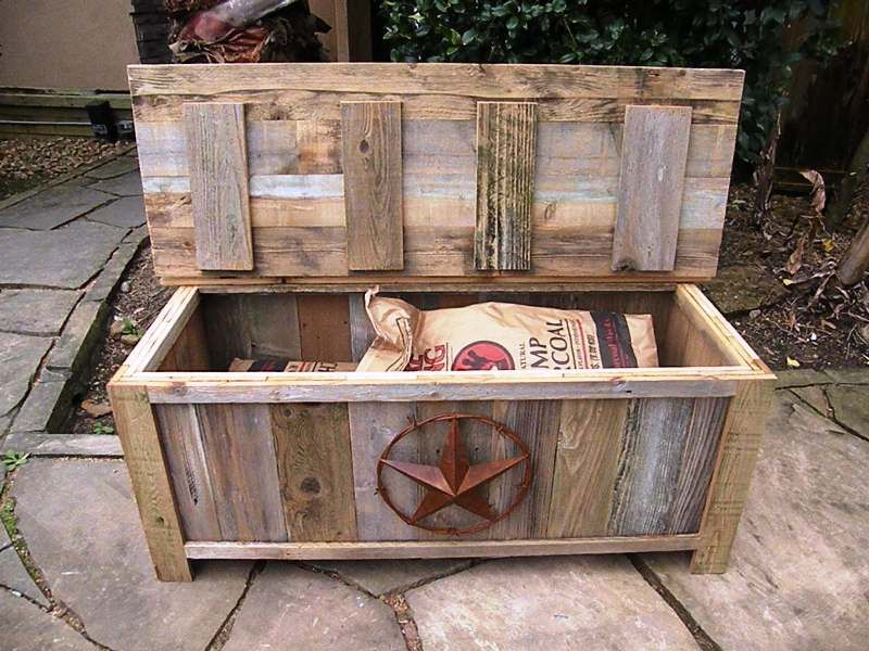 Hand-Made, Weathered Wood Outdoor Bench/Storage Container W/Barbed Wire Star Adornment
