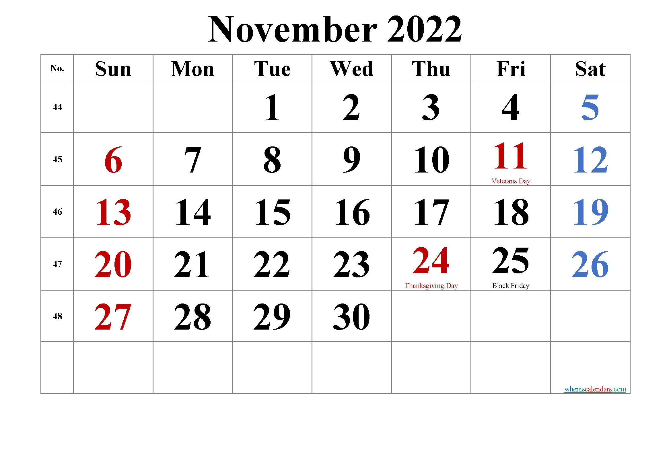 Nov 2022 Calendar With Holidays.Free Printable November 2022 Calendar Calendar Printables Monthly Calendar Printable Printable Calendar
