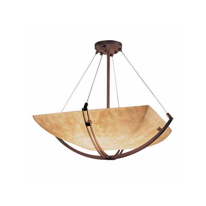 """Justice Design Group CLD-9724-25 Clouds 42"""" Wide Bowl Pendant Dark Bronze Indoor Lighting Pendants"""