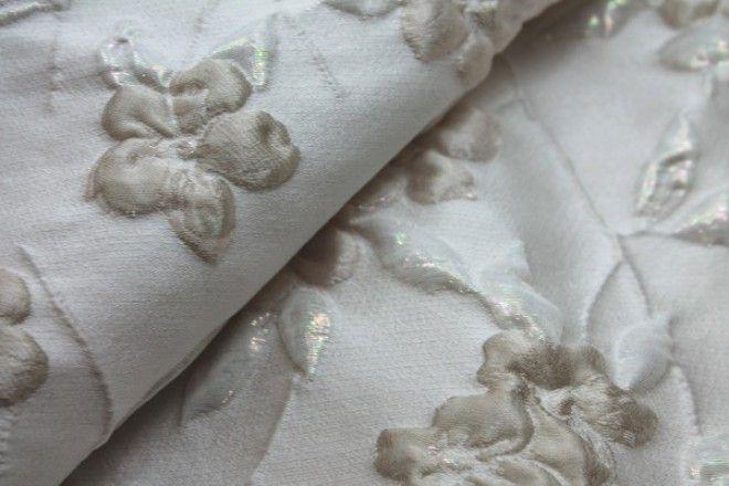 Iridescent Floral Brocade - Oyster/Cream