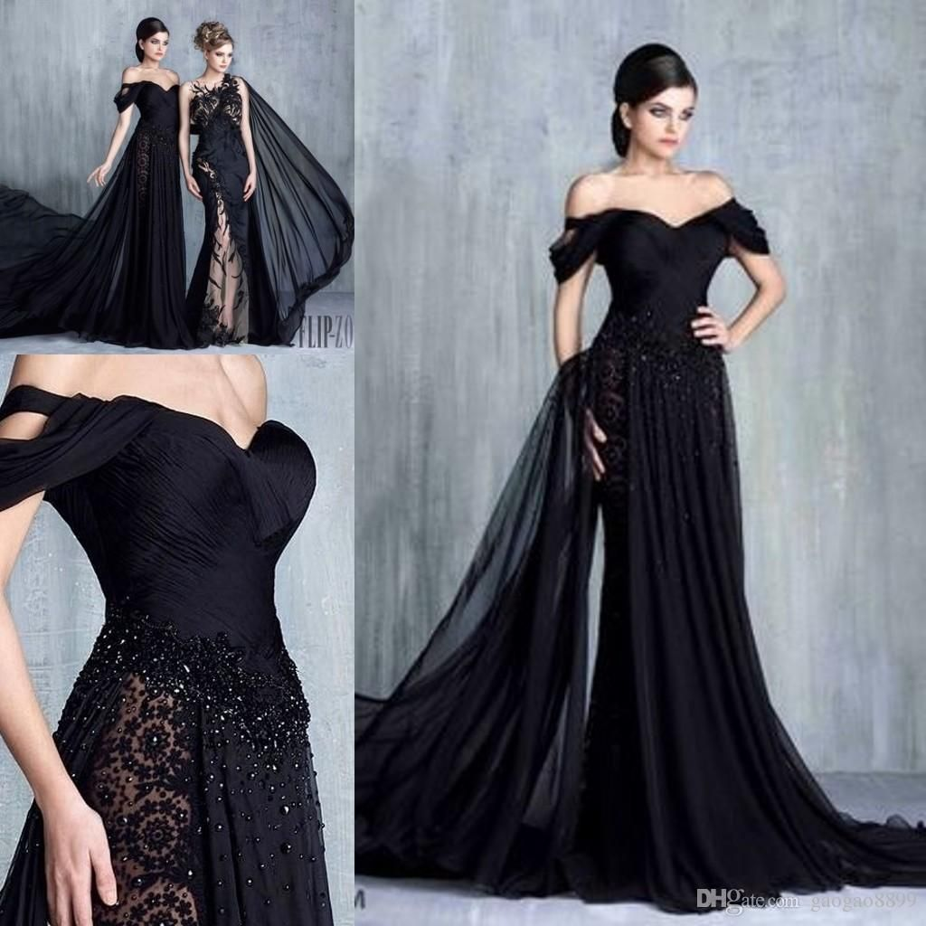 Tony Chaaya Black Elegant Formal Evening Gowns 2017 Modest Off ...