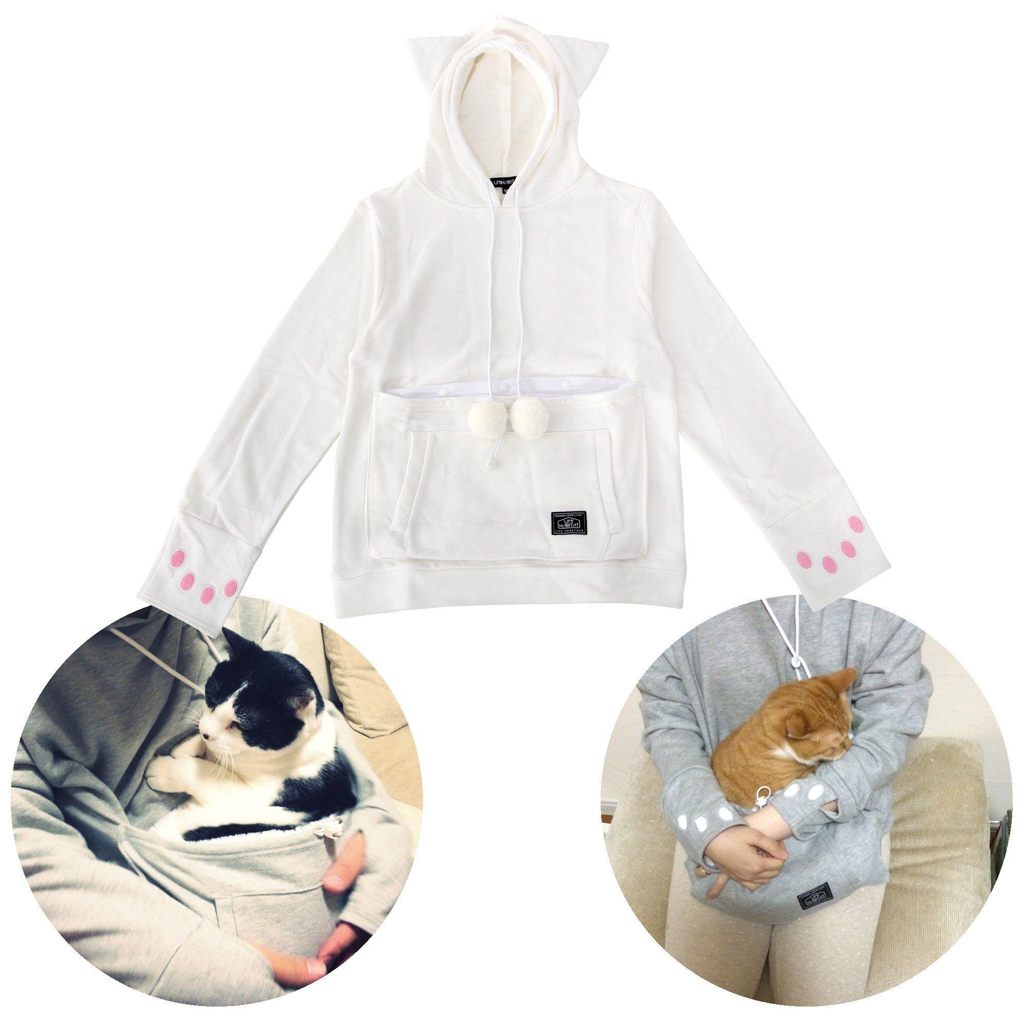 Mewgaroo Hoodie Upa32mwh White Cat Shaped Sweat with Ears