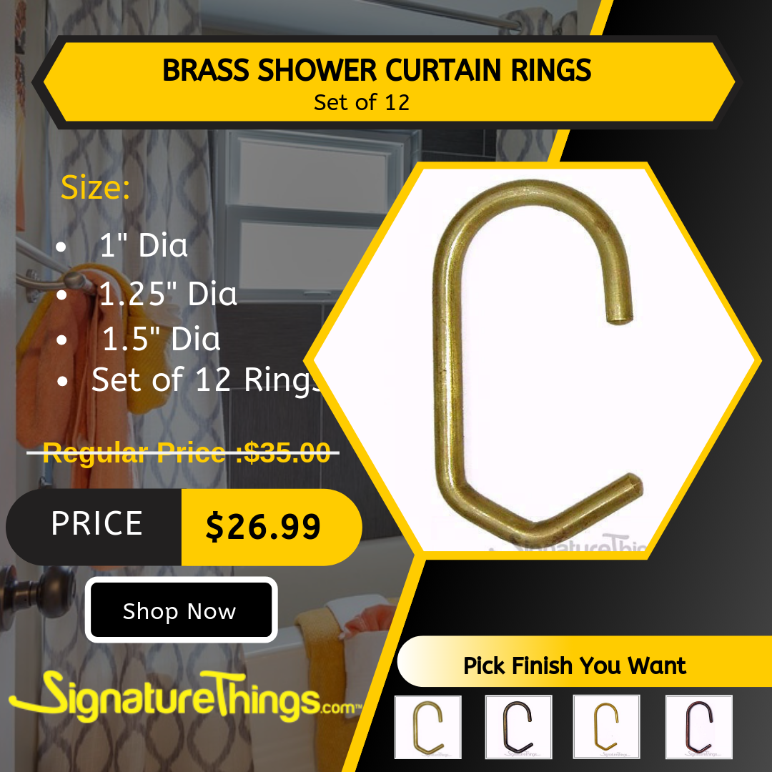 Brass Shower Curtain Rings Set Of 12 Shower Curtain Rings