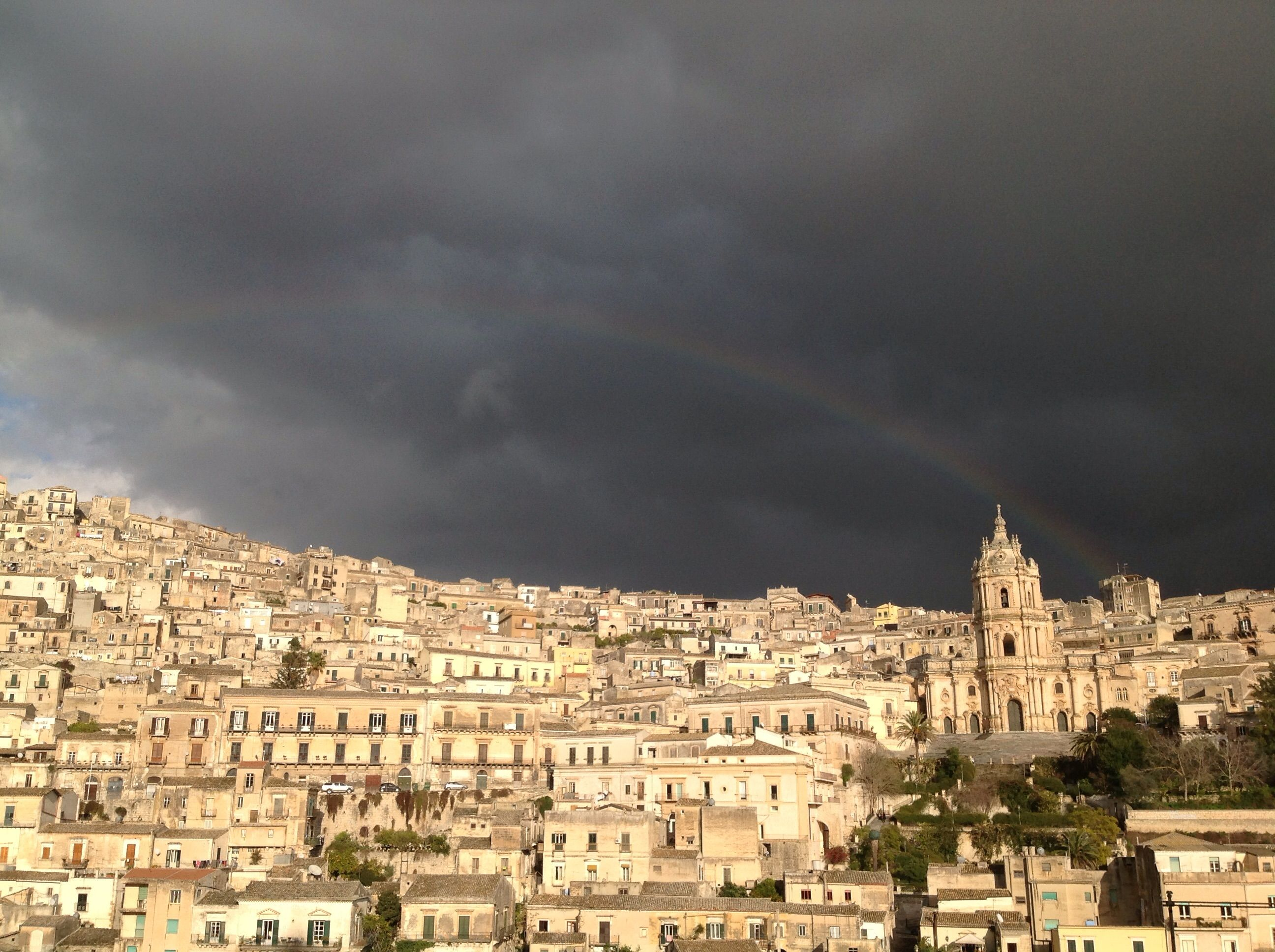 Rainbow over Saint George's Cathedral in Modica as seen from our house www.sangiorgiosuitesmodica.it