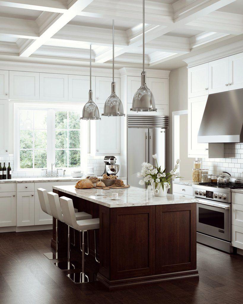Bright white cabinets, dark wood island, Carrara marble ...