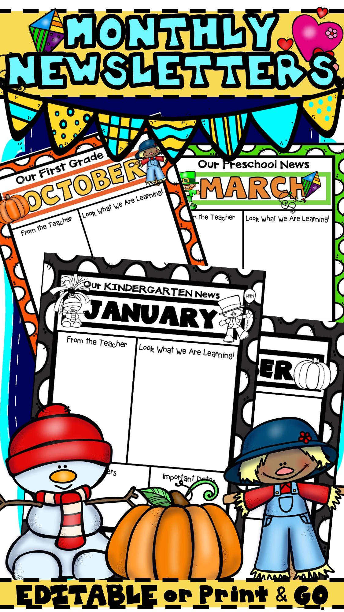 Monthly Newsletter Templates That Are Editable For Your Class And
