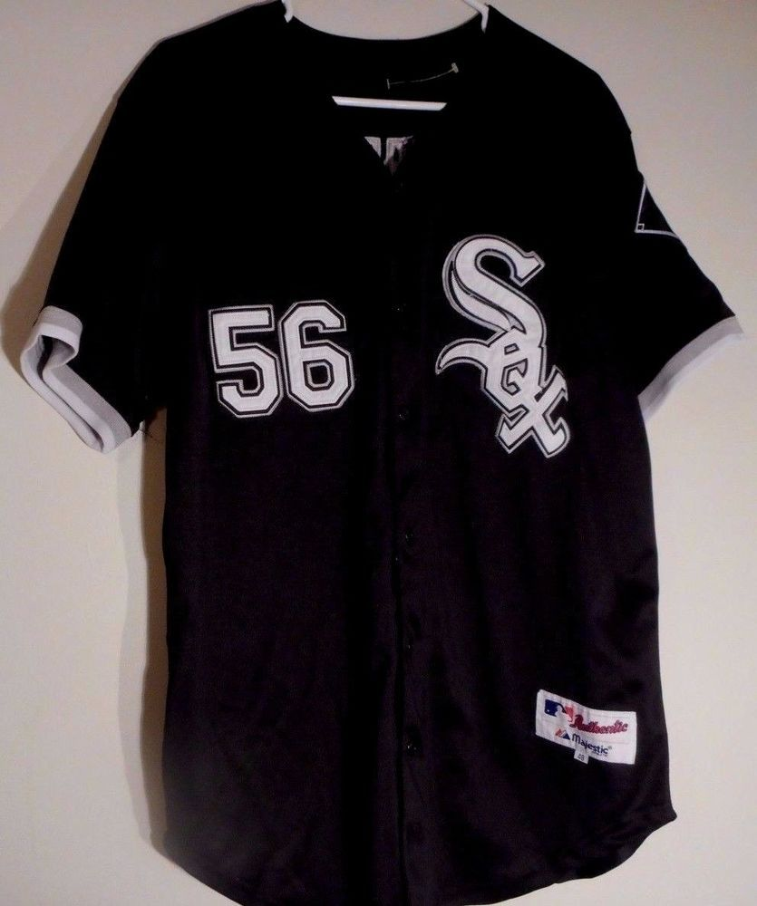 56 mark buehrle chicago white sox baseball jersey sz 48 alternate black majestic