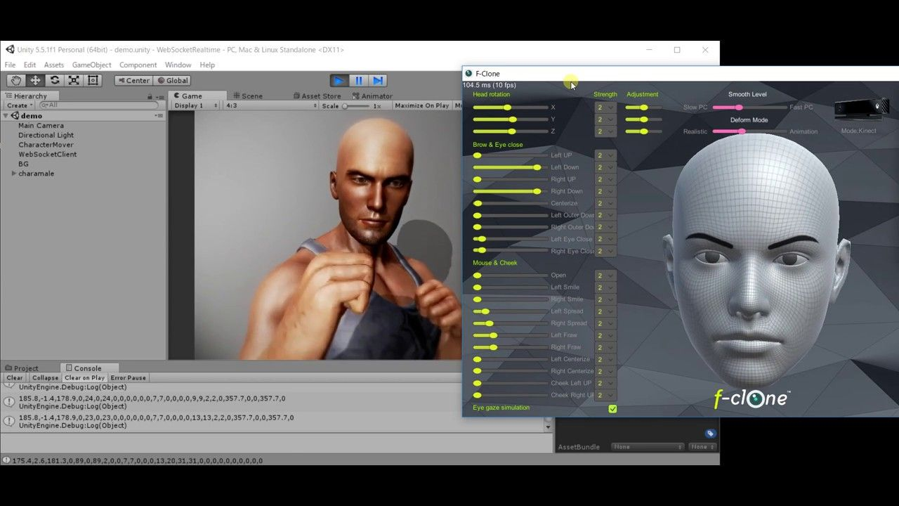 f-clone realtime facial mocap to animate iclone model in unity