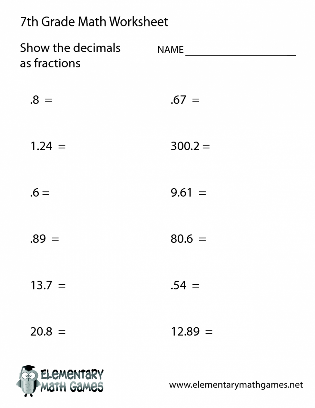 7 Dividing Decimals Worksheet 6th Grade In