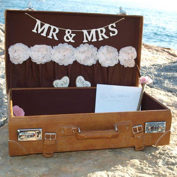valise urne de mariage wedding suitcase card by saveyourdeco rustic wedding. Black Bedroom Furniture Sets. Home Design Ideas