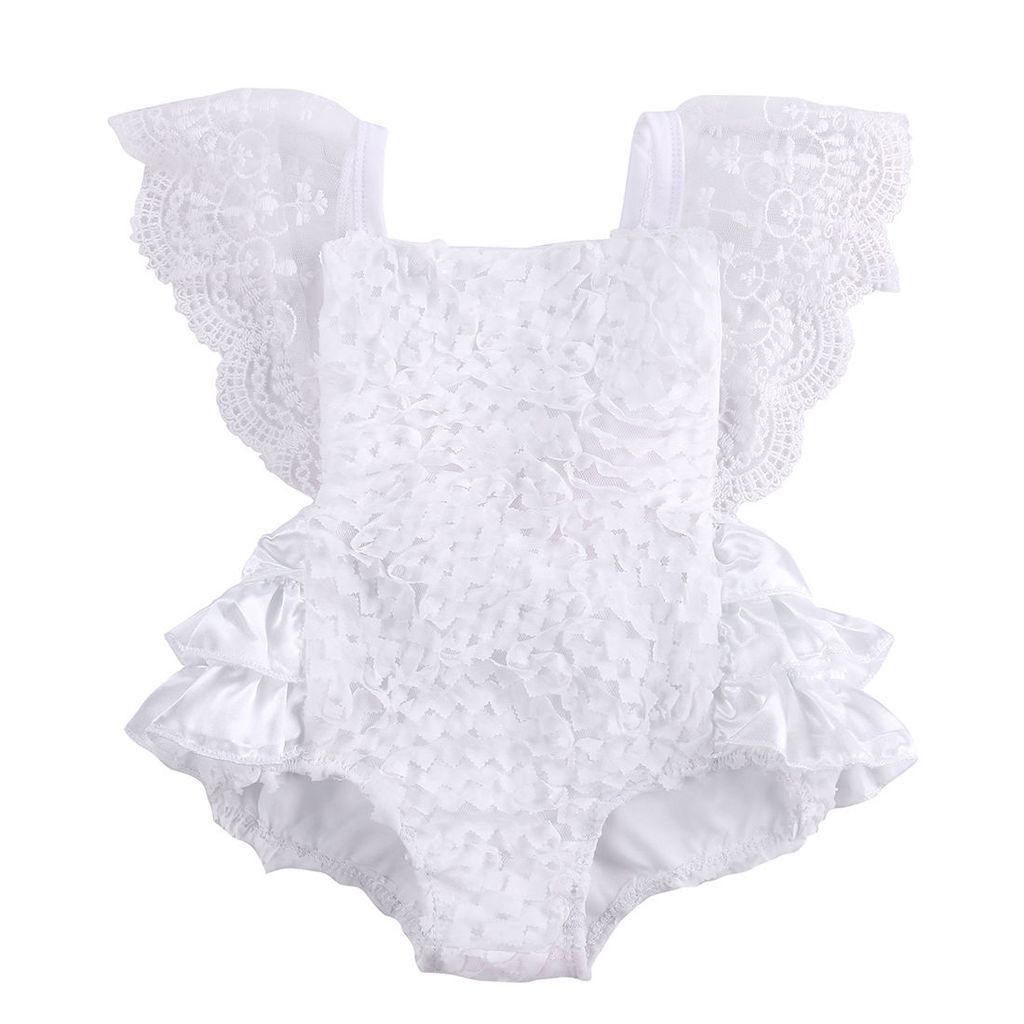 07330721604 Baby s Precious Lace Floral Ruffled Romper Sunsuit 0-18 mos
