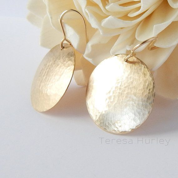 Gold Earrings Disc Hammered Earring Large