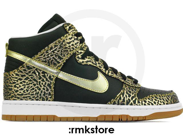 Nike Dunk High Premium iD Black Cement Gold