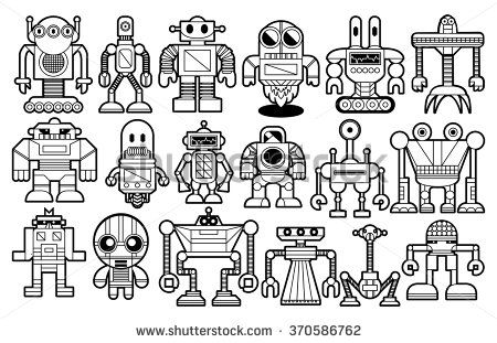 Vector Set Of Different Robots Isolated On Background Things