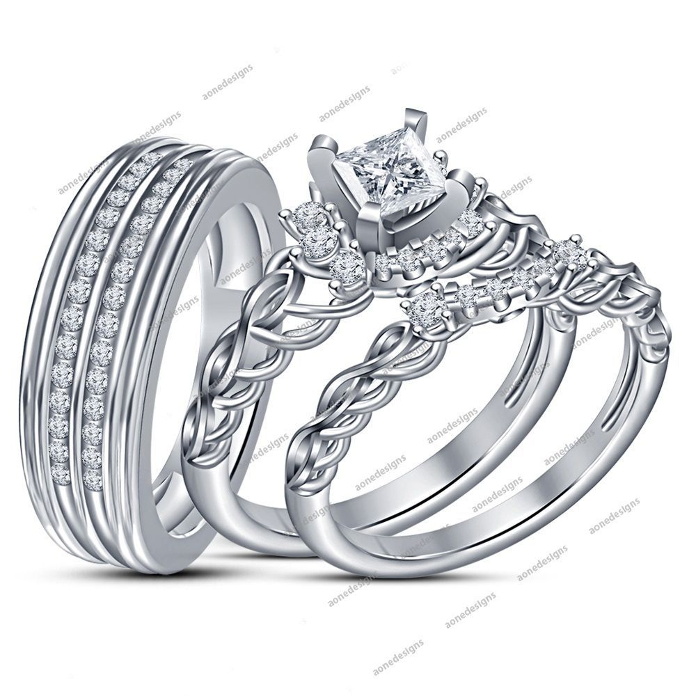 His Her 925 Sterling Silver White Diamond Trio Ring Set All Size 1 10carat Wedding Ring Trio Sets Matching Wedding Rings Wedding Rings Engagement