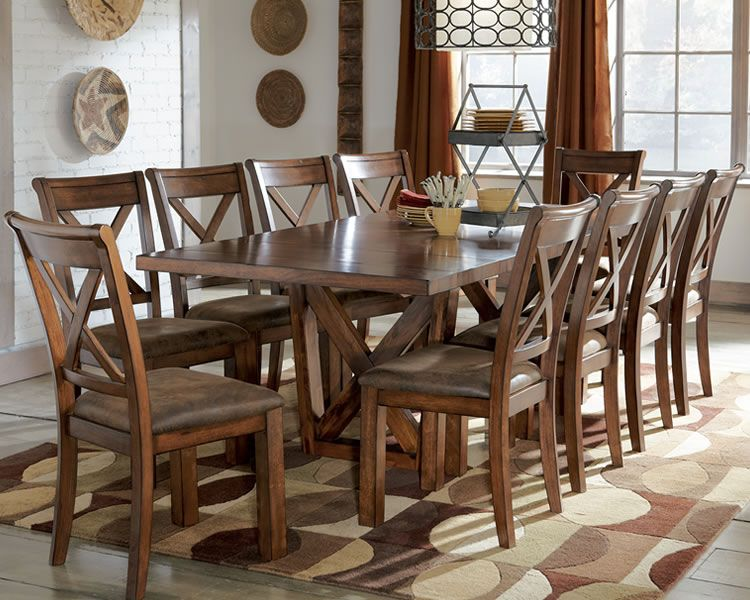 KitchenSquare Large Dining Table Wooden With Brown Leather Seat Modern Rugs Glass Rustic Room