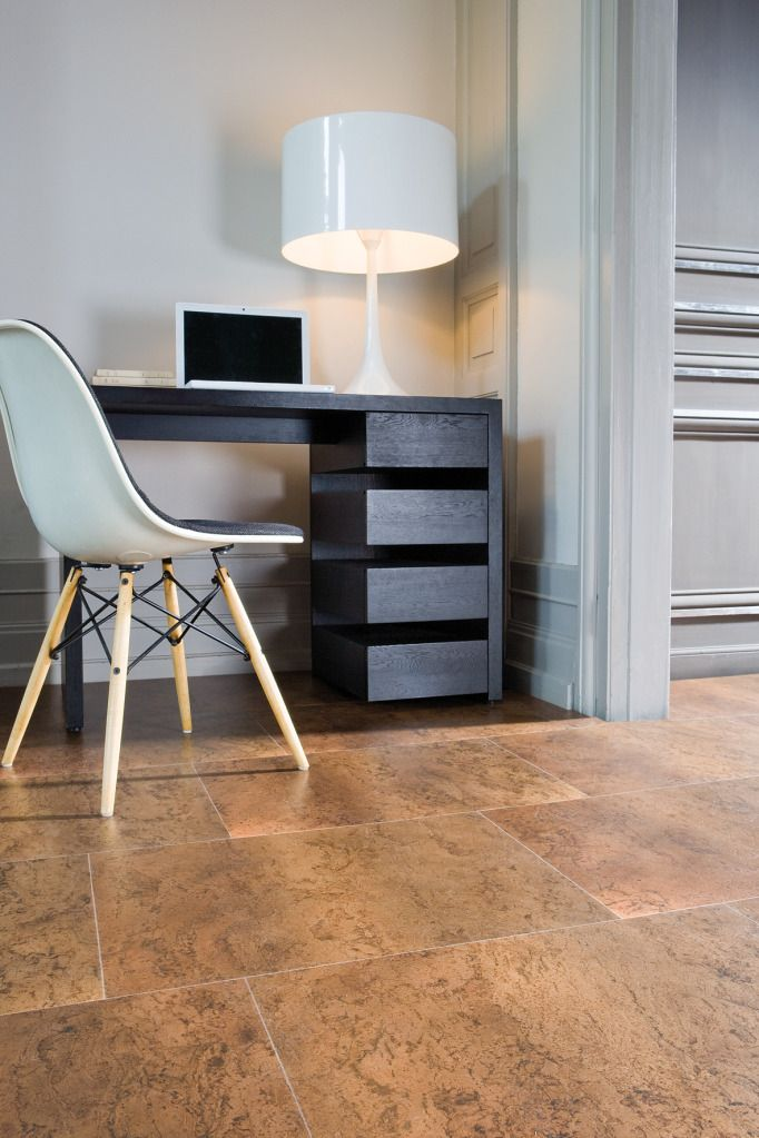 Cork And Baby Blue Is The Perfect Combo For A Peaceful Working Space Interior Basement Flooring Options Cork Flooring