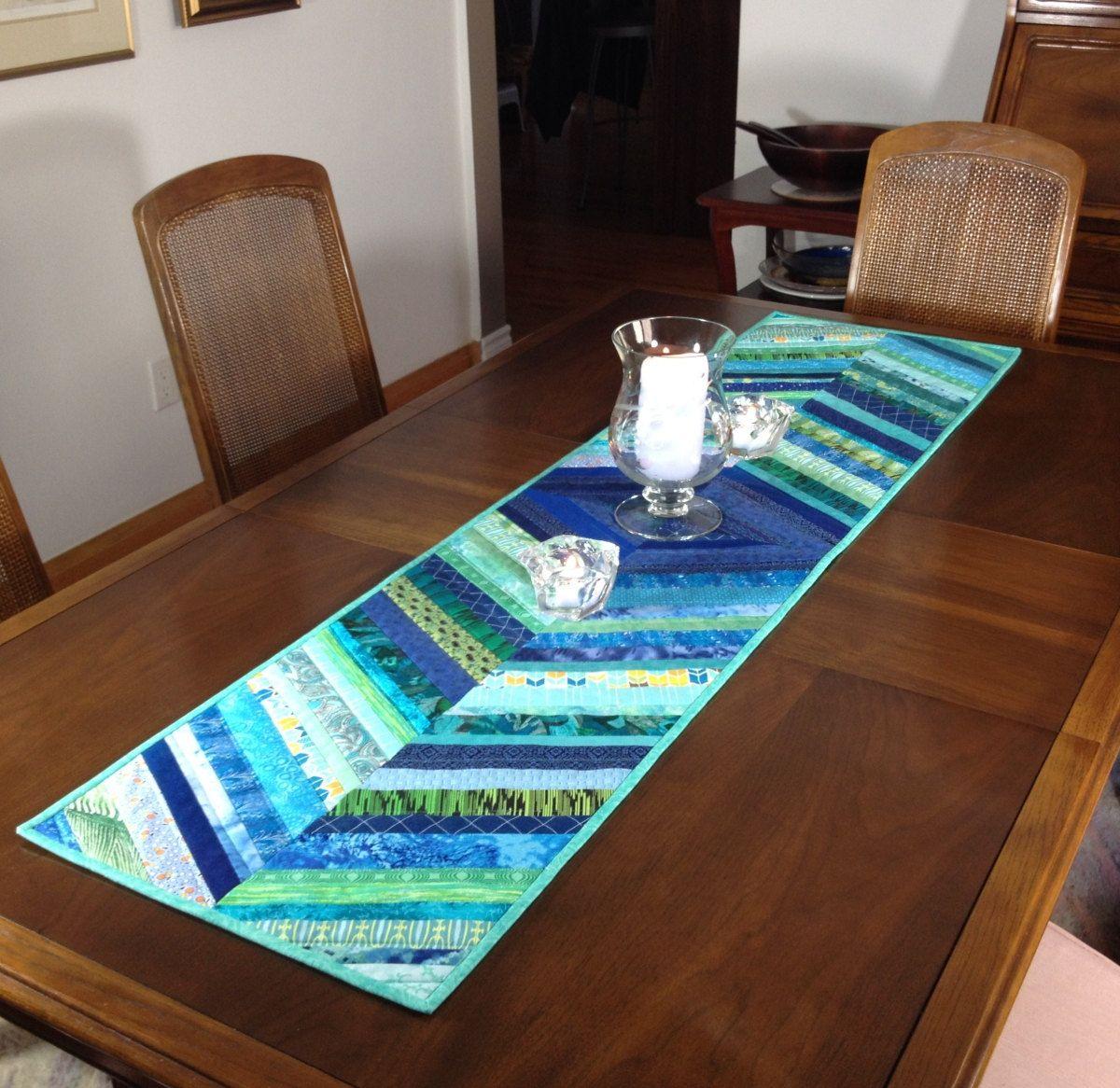 Long Quilted Table Runner, Blue/Green Wallhanging, Bed Runner, Quilted Tablerunner, Modern Table Decor, Reversible Table Runner