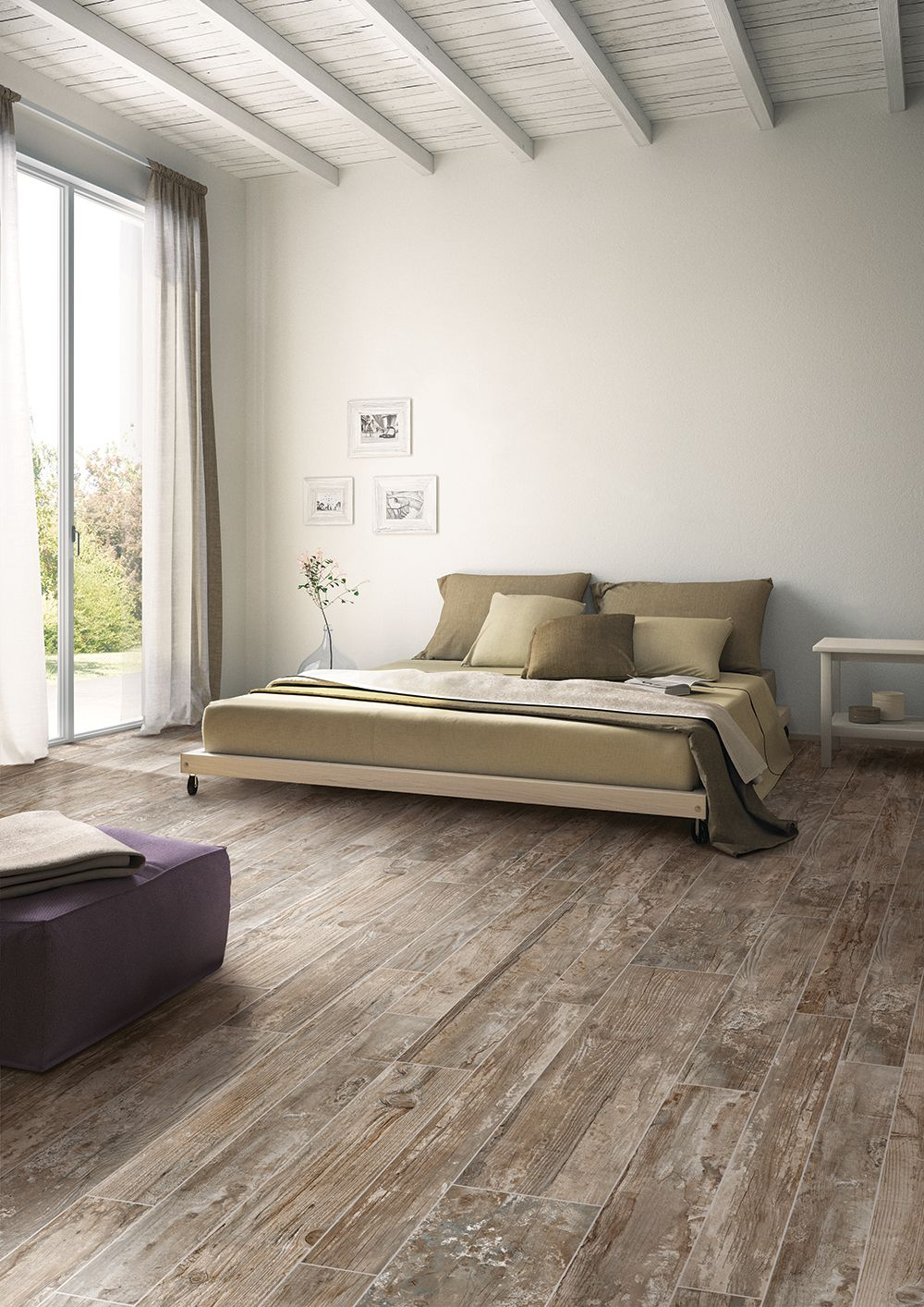 Serene Bedroom Wood Plank Tile Modern Rustic