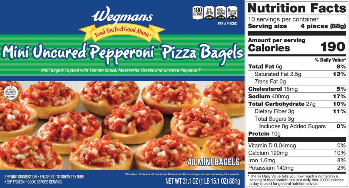 The Updated Nutrition Facts Label As Seen On Wegmans Mini Uncured
