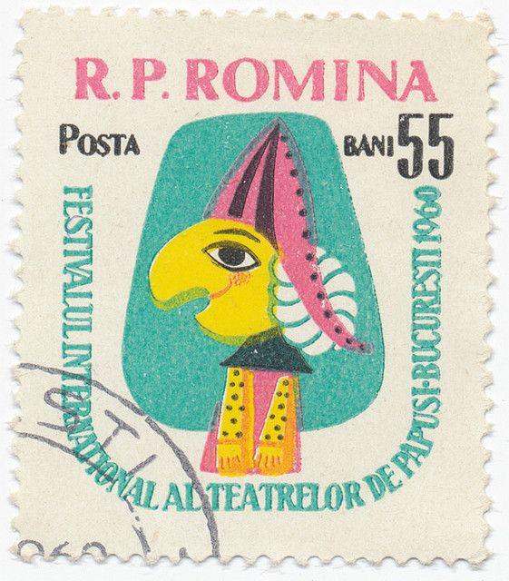 1960 romanian stamp - international festival of puppet theatre, design by e. conovici