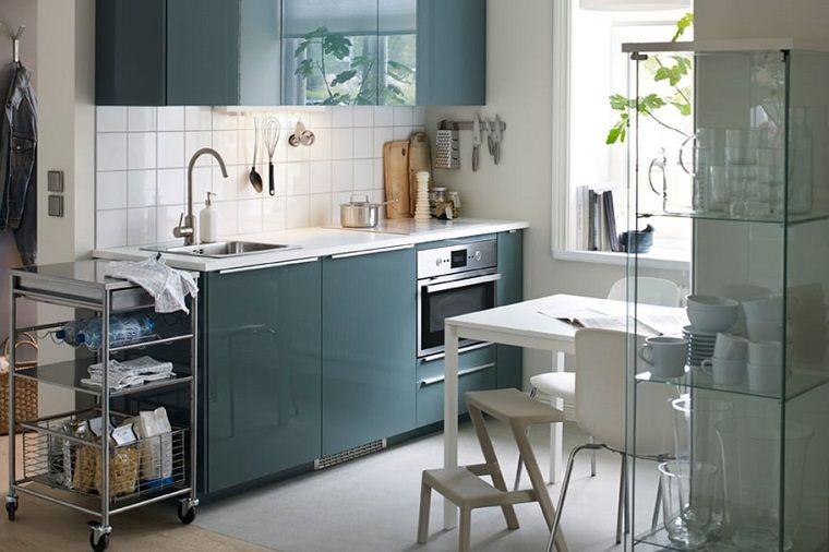 Cucine moderne piccole, idea con un arredamento salvaspazio ...